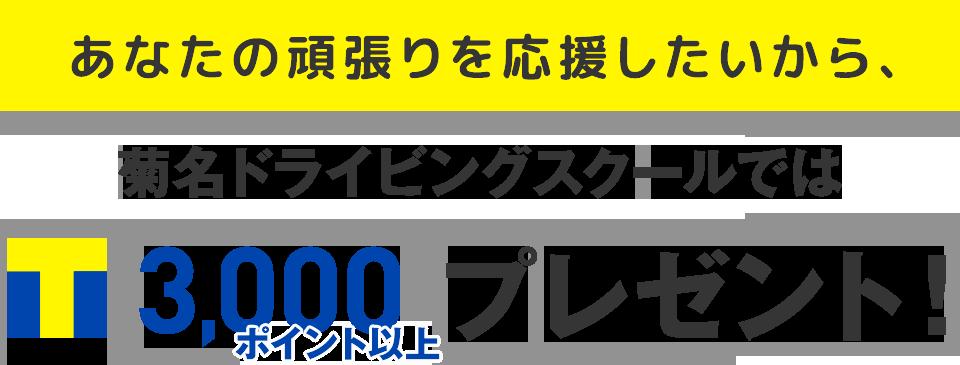 あなたの頑張りを応援したいから、菊名ドライビングスクールでは入校時にT-POINT3,000ポイント以上プレゼント!